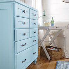 Light blue dresser cabinet by Decora Cabinetry