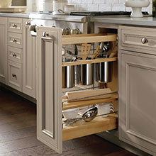 Base Utensil Pantry Pullout cabinet open to show storage