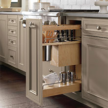 Base Utensil Pantry Pullout Cabinet with Knife Block, pulled open to show storage