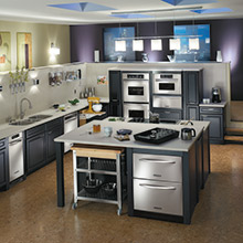 Cambridge black kitchen cabinets with industrial design elements
