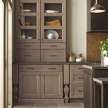 Roslyn Alder Cliff Cabinets With A Brown Gray Tone