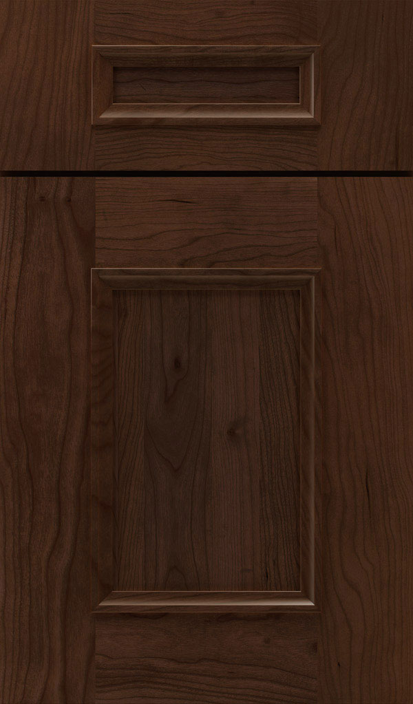 Atwater 5-Piece Cherry flat panel cabinet door in Bombay
