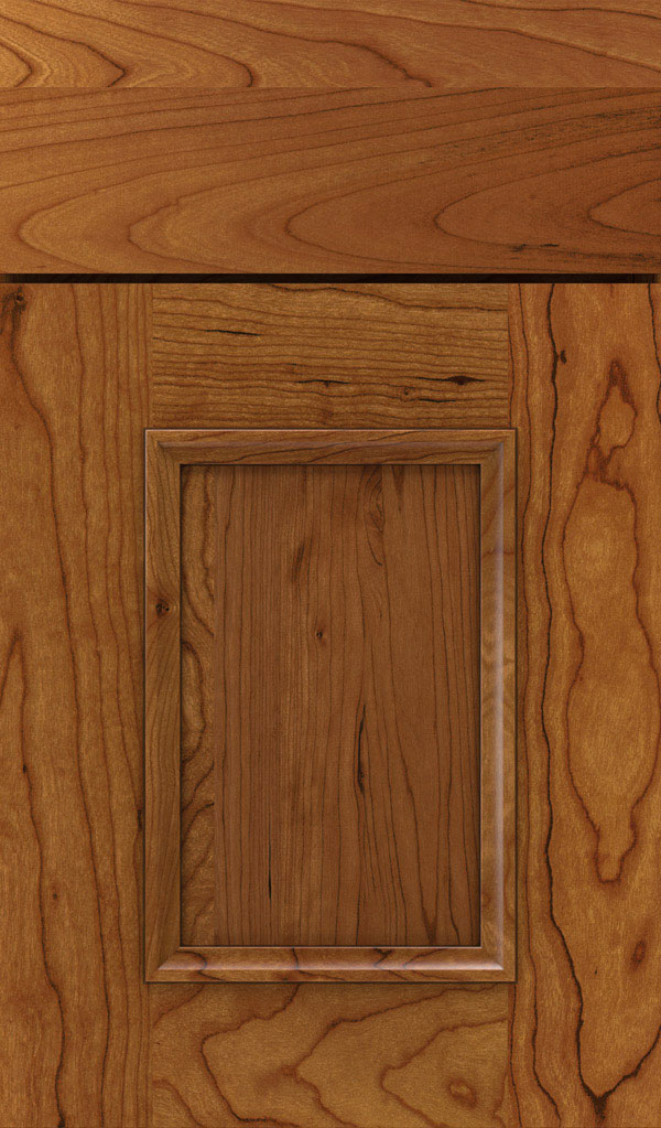 Atwater Cherry flat panel cabinet door in Sienna coffee