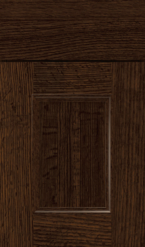 Atwater Quartersawn Oak flat panel cabinet door in Bombay