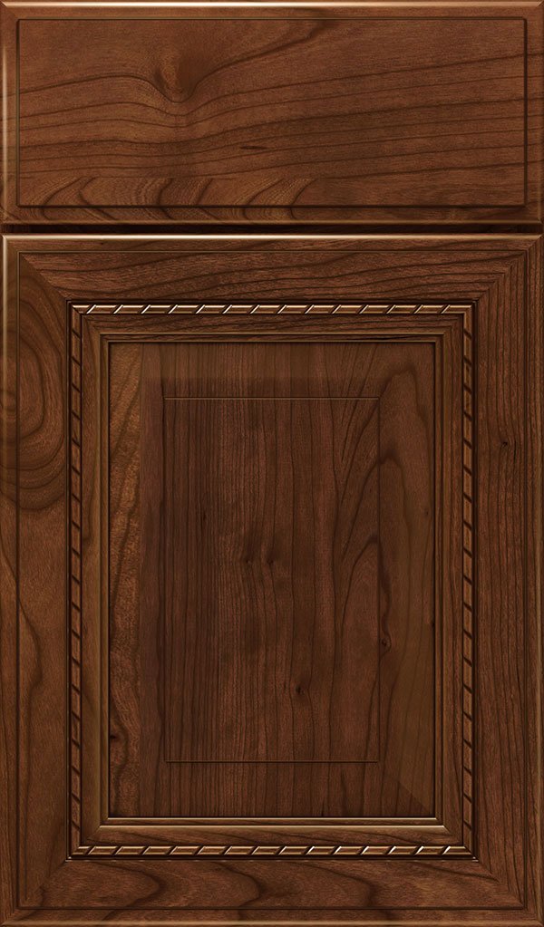 Avignon Cherry Raised Panel Cabinet Door in Arlington Espresso