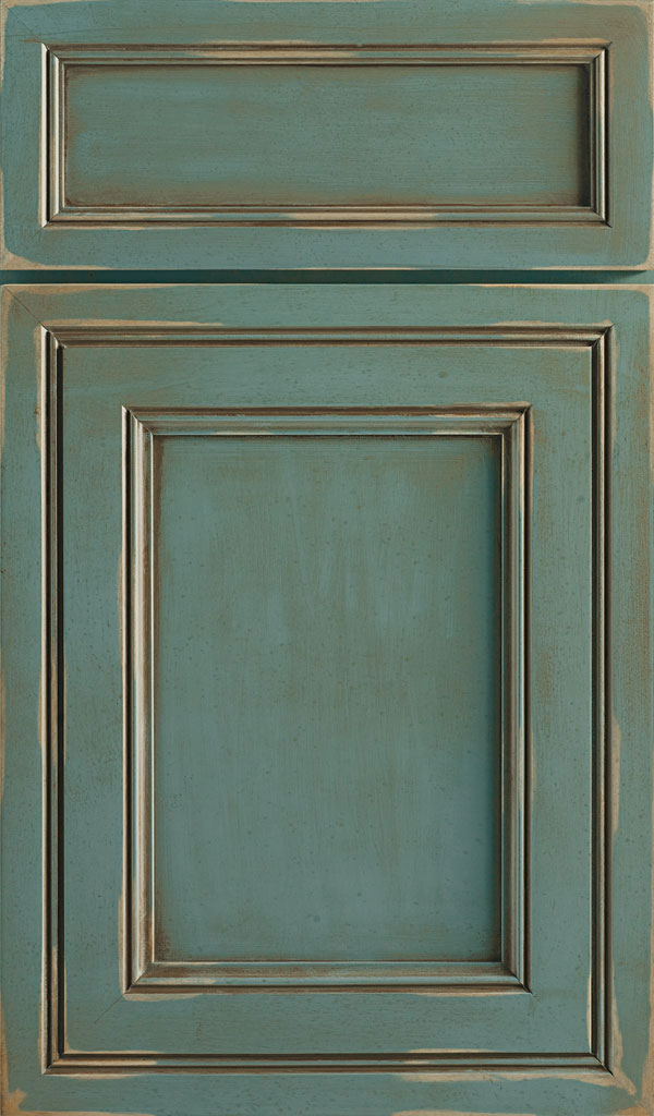 Braydon Manor 5-Piece Maple Flat Panel Cabinet Door in Turquoise Rust