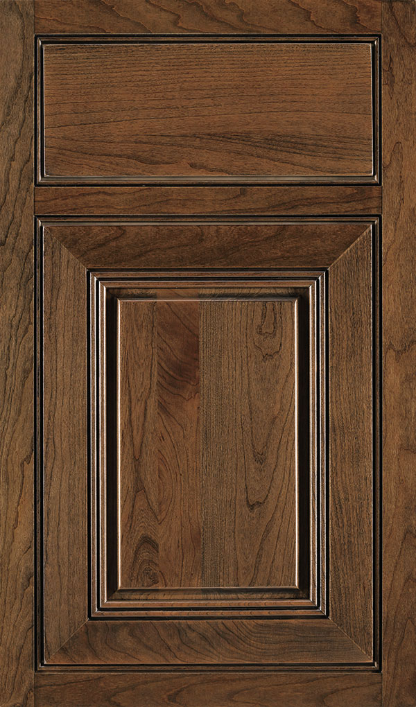 Cambridge Cherry Beaded Inset Cabinet Door in Mink Espresso