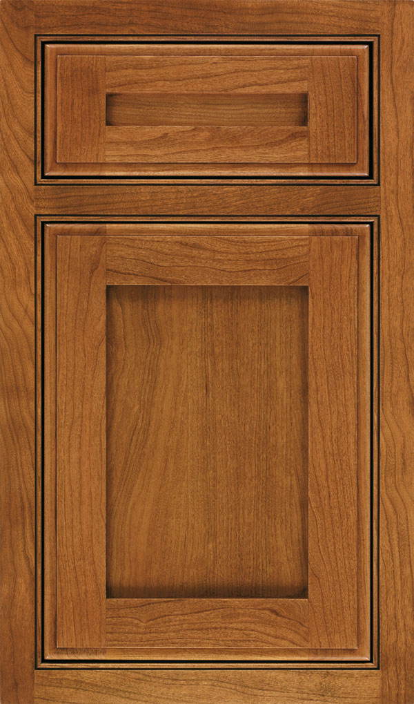 Harmony 5 Piece Cherry Beaded Inset Cabinet Door in Sienna Coffee