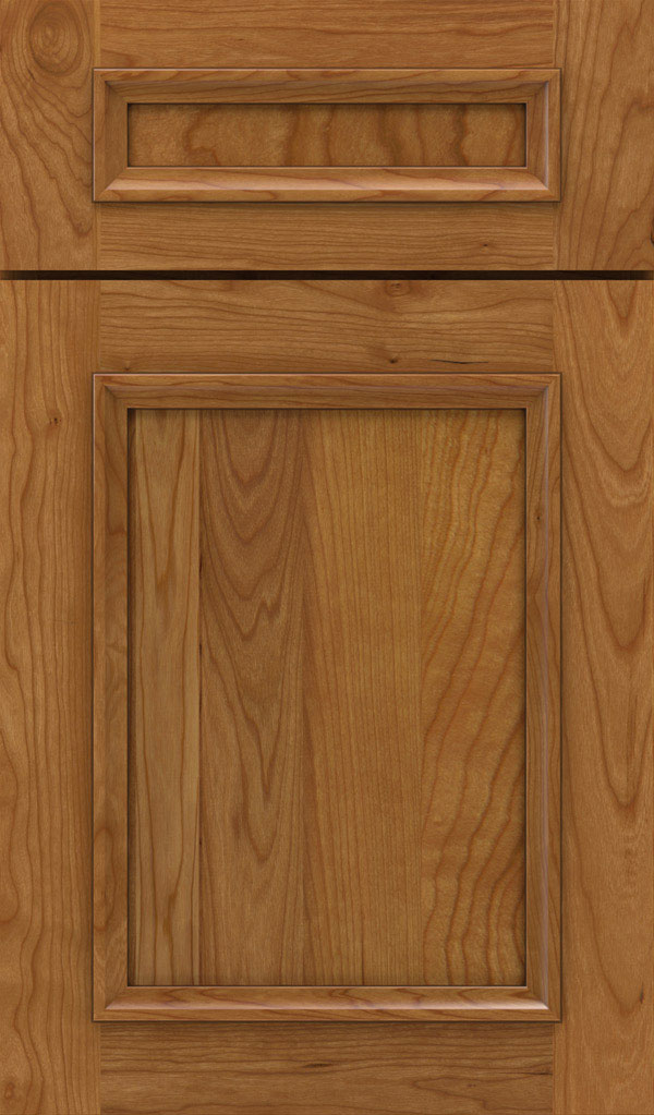 Haskins 5-Piece Cherry recessed panel cabinet door in Coriander Coffee