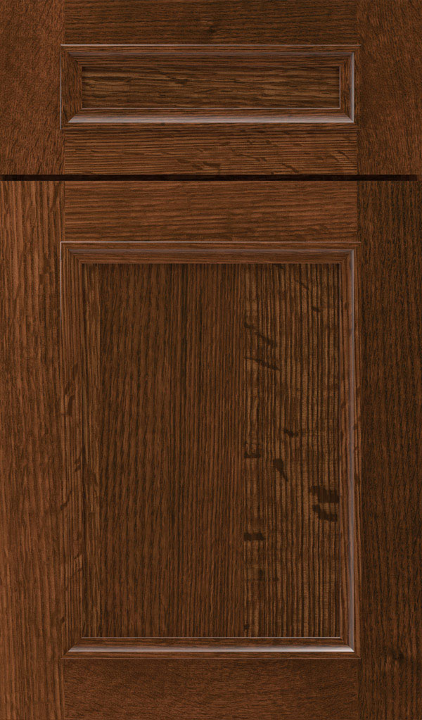 Haskins 5-Piece Quartersawn Oak recessed panel cabinet door in Sepia