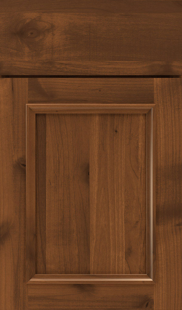 Haskins Rustic Alder recessed panel cabinet door in Suede