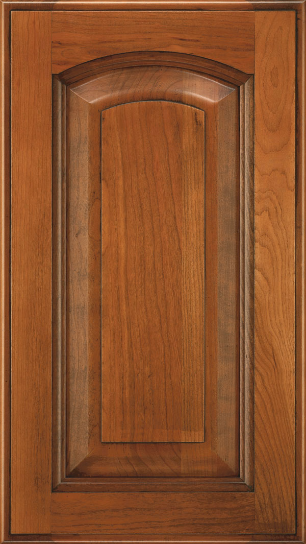 Kingston Cherry arched Raised Panel Cabinet Door in Bourbon Noir