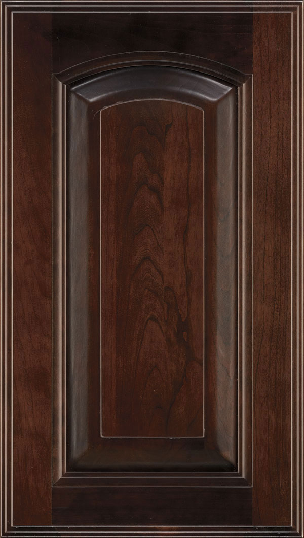 Kingston Cherry arched Raised Panel Cabinet Door in Teaberry