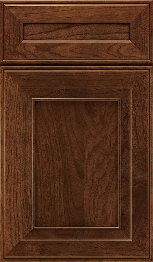 Leyden 5 Piece Cherry Flat Panel Cabinet Door in Arlington Espresso