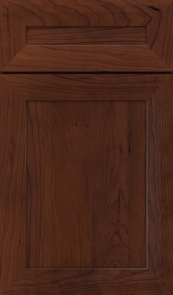 Modesto 5 Piece Cherry Recessed Panel Cabinet Door in Sepia