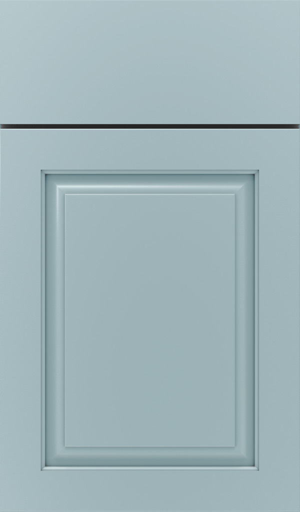 Plaza Maple raised panel cabinet door in Interesting Aqua
