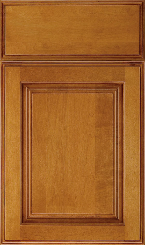 Plaza Maple raised panel cabinet door in Wheatfield Bronze