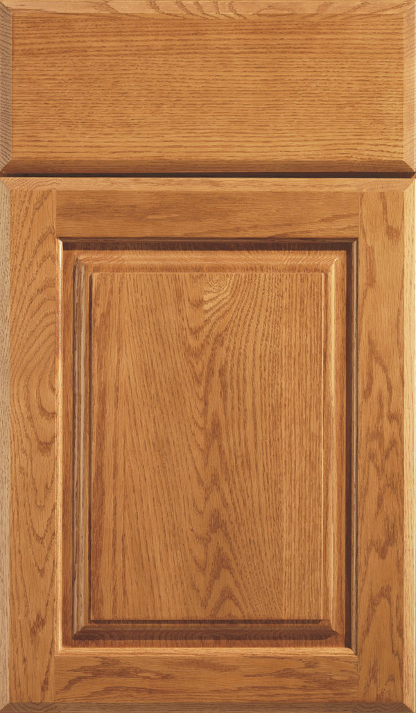Plaza Oak raised panel cabinet door in Pheasant