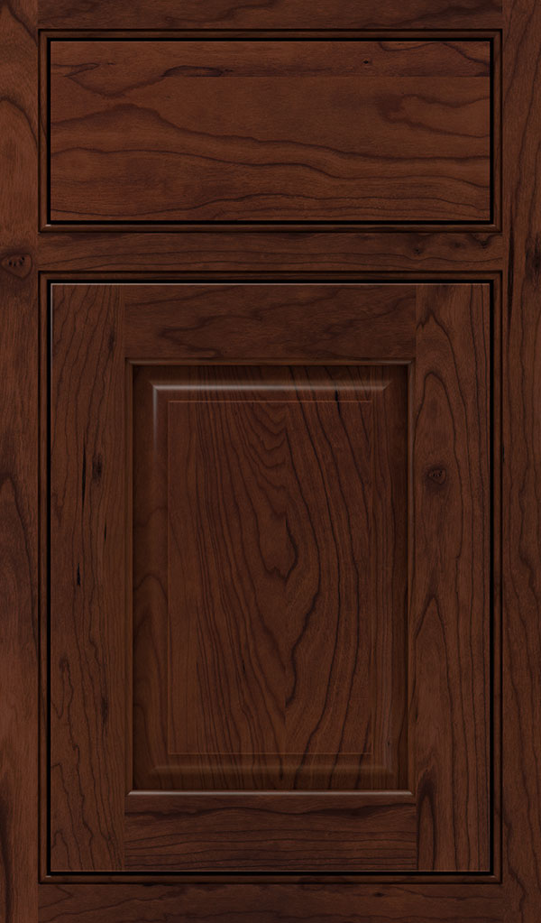 Plaza Cherry Beaded Inset Cabinet Door in Sepia