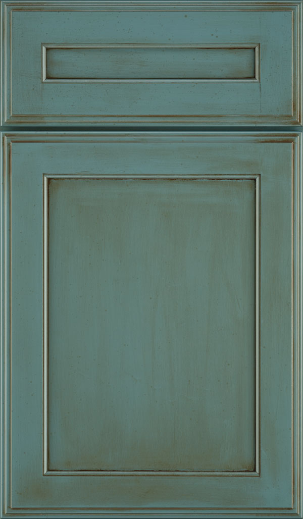 Prescott 5 Piece Maple Flat Panel Cabinet Door in Turquoise