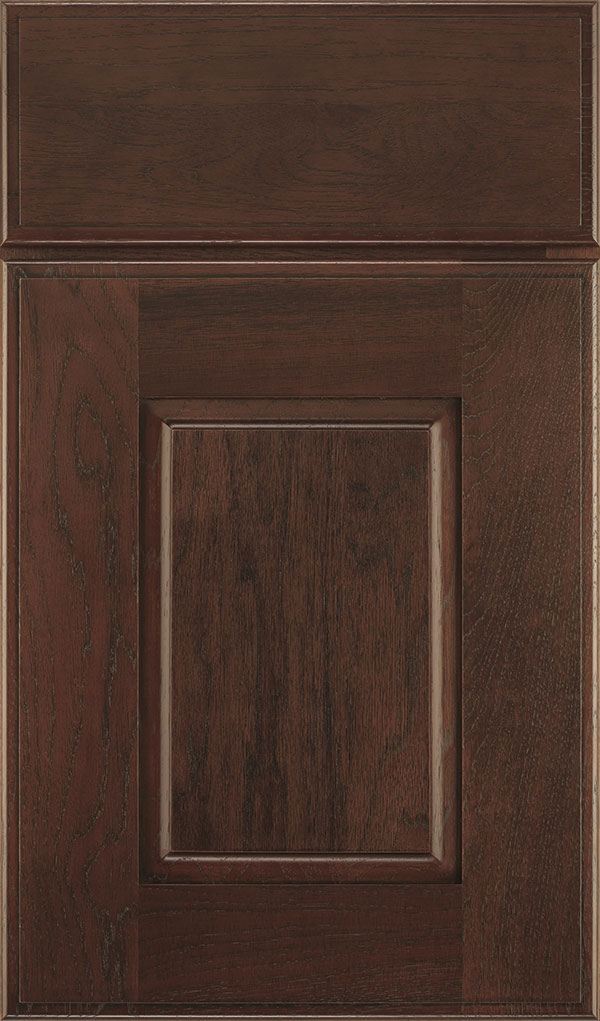 Toulan Hickory Raised Panel Cabinet Door in Malbec