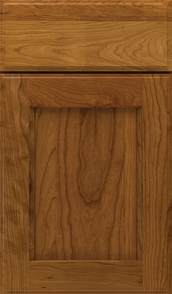 Treyburn Cherry recessed panel cabinet door in Suede