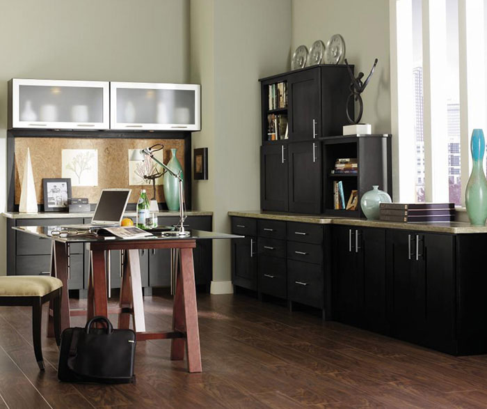 Dark Grey Office Cabinets Decora Cabinetry