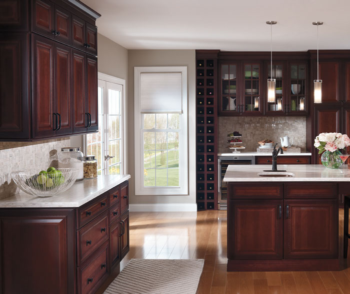 ... Dark Cherry Kitchen Cabinets With Glass Cabinet Doors By Decora  Cabinetry ...