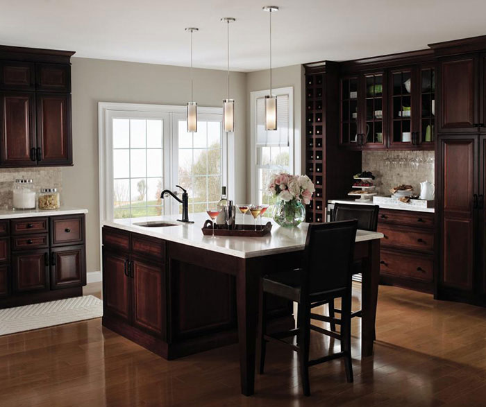... Dark cherry kitchen cabinets with glass cabinet doors by Decora Cabinetry ... & Three Drawer Base Cabinet - Decora Cabinetry kurilladesign.com