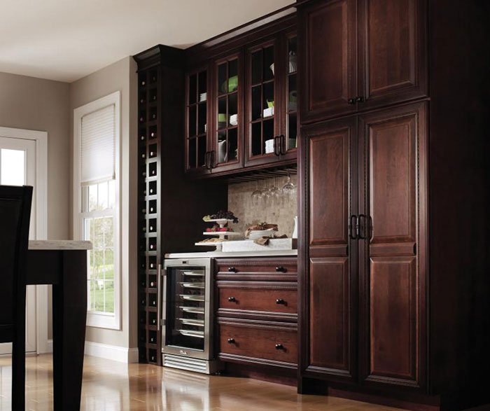 Dark Cherry Kitchen Cabinets With Gl Cabinet Doors By Decora Cabinetry