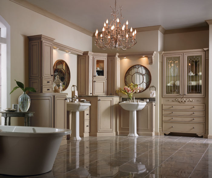 Painted bathroom cabinets in Irish Creme by Decora Cabinetry