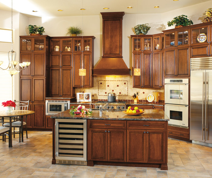 Medium image of cambridge cherry cabinets in a traditional kitchen in arlington finish and espresso glaze