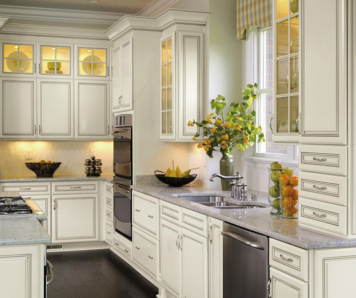 Off White Cabinets with Glaze - Decora Cabinetry
