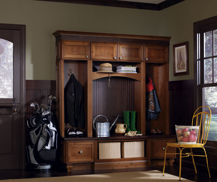 Entryway cabinets by Decora Cabinetry