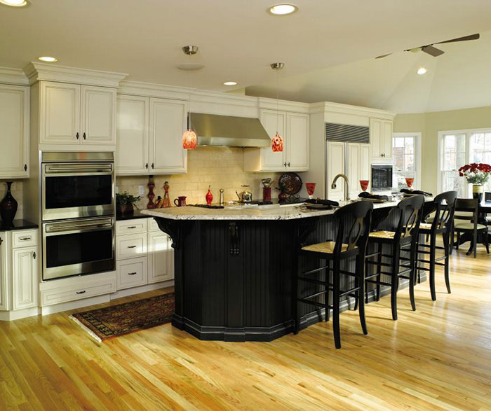 Off White Cabinets With Black Kitchen Island