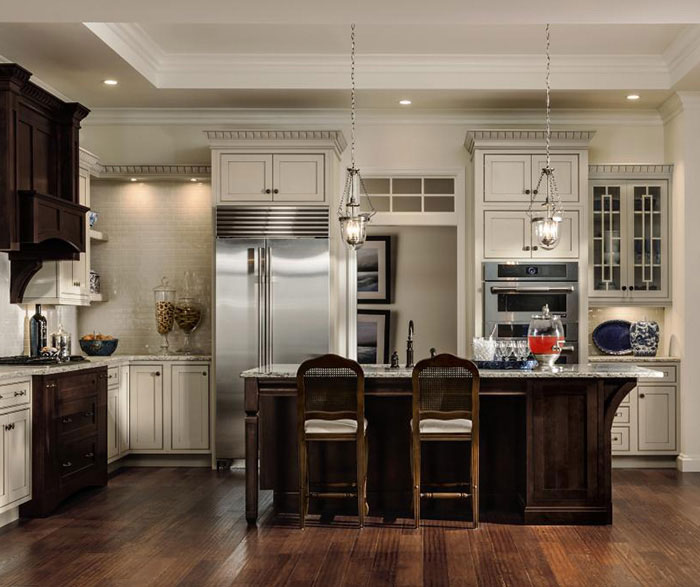 Charming ... Painted Maple Cabinets With A Cherry Kitchen Island By Decora Cabinetry  ...