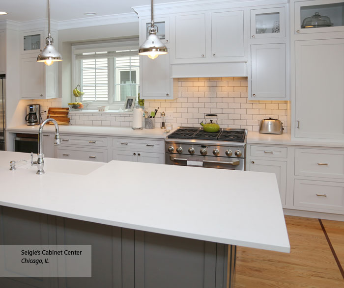 White Harmony Inset Cabinets With A Gray Kitchen Island ...