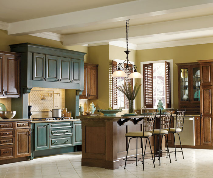 Cherry Kitchen Cabinet Doors: Cherry Kitchen With Turquoise Cabinets