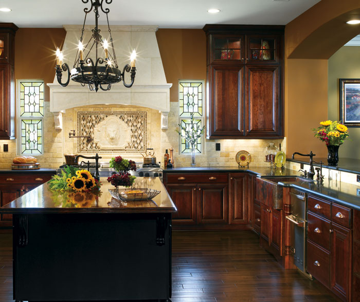 Dark Cherry cabinets in a traditional kitchen by Decora Cabinetry ... & Dark Cherry Cabinets in Traditional Kitchen - Decora kurilladesign.com