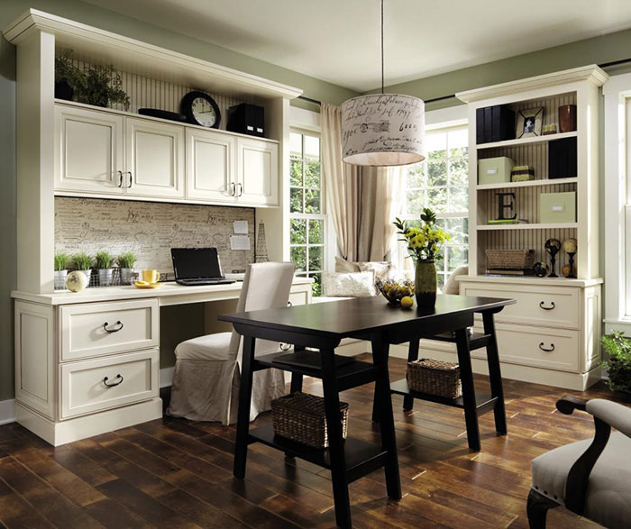 Office cabinets in painted Maple by Decora Cabinetry