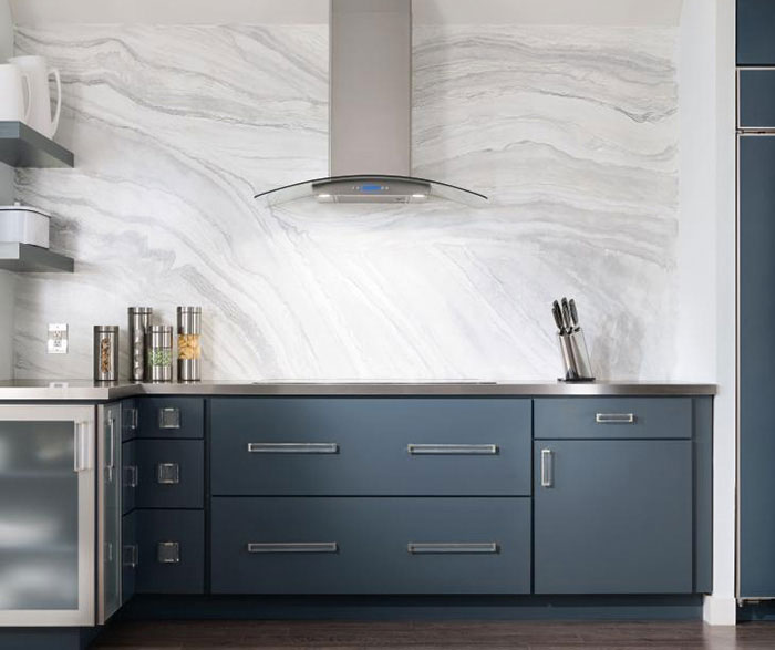 Blue painted kitchen cabinets by Decora Cabinetry