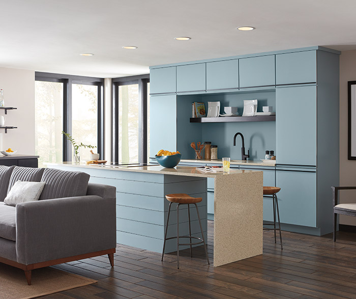 Contemporary Aqua Kitchen Cabinets In The Marquis Door Style ...
