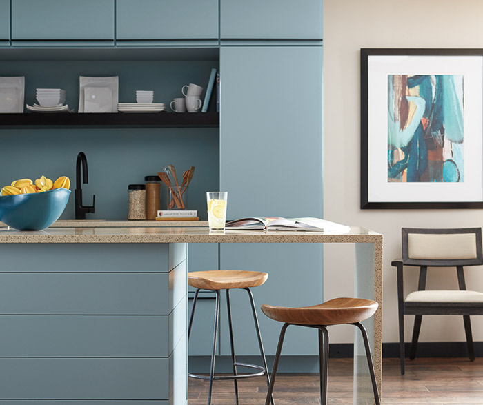 Contemporary Aqua kitchen cabinets in the Marquis door style