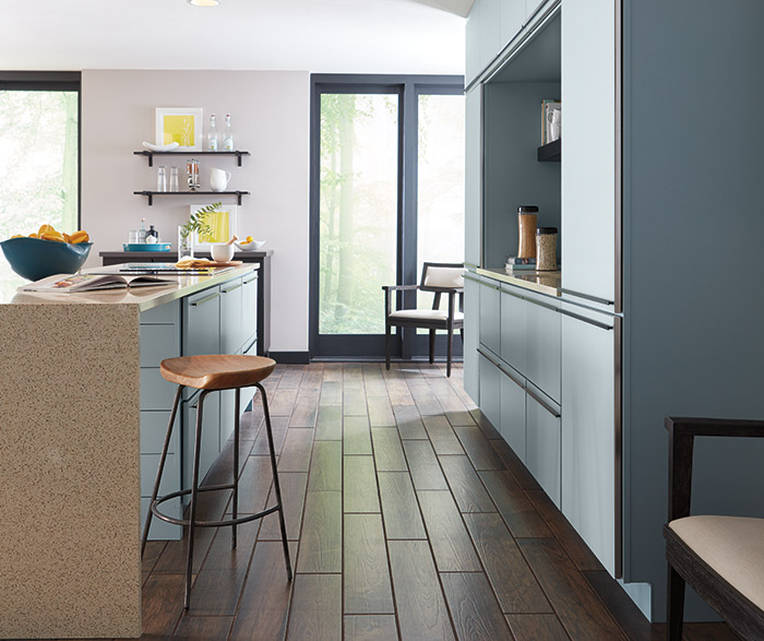 ... Contemporary Aqua Kitchen Cabinets In The Marquis Door Style ...