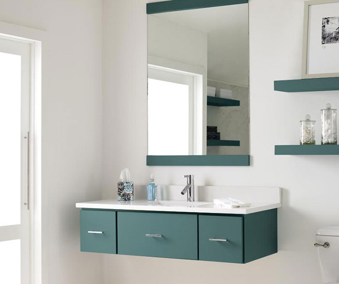 Contemporary Bathroom with Blue Cabinets