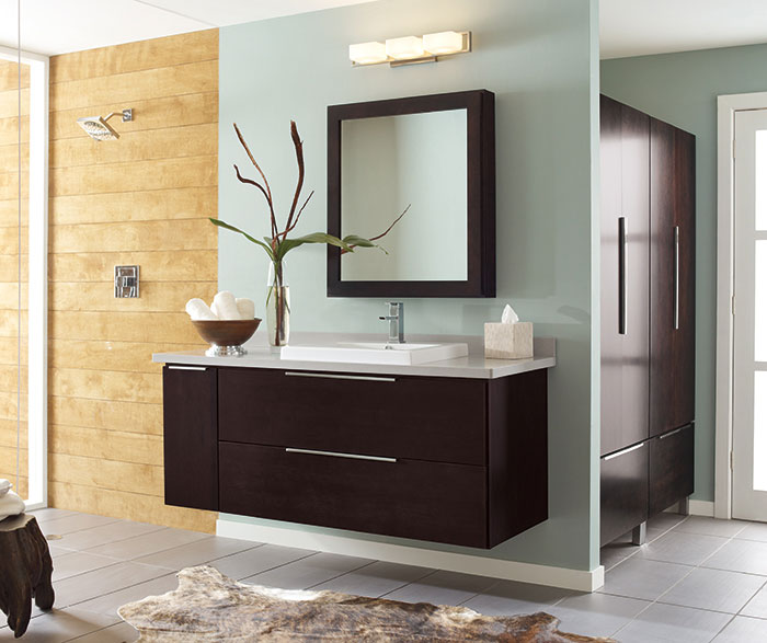 Wall-mounted bathroom vanity in dark Cherry by Decora Cabinetry ... & Bath Mirror with Wall Pull Out - Decora Cabinetry