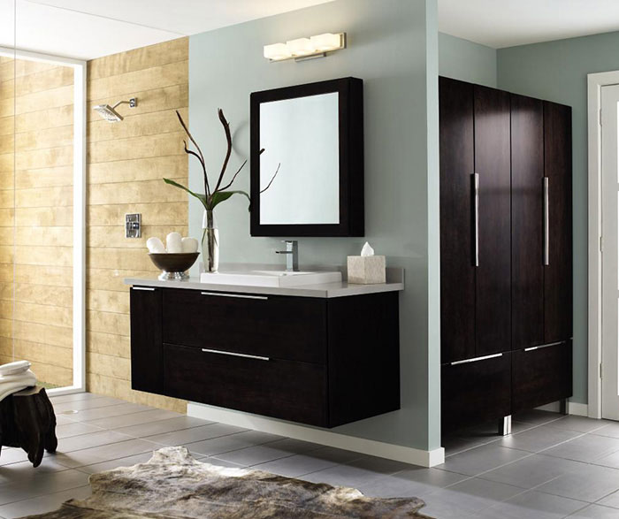 Wall Mounted Bathroom Vanity In Dark Cherry By Decora Cabinetry