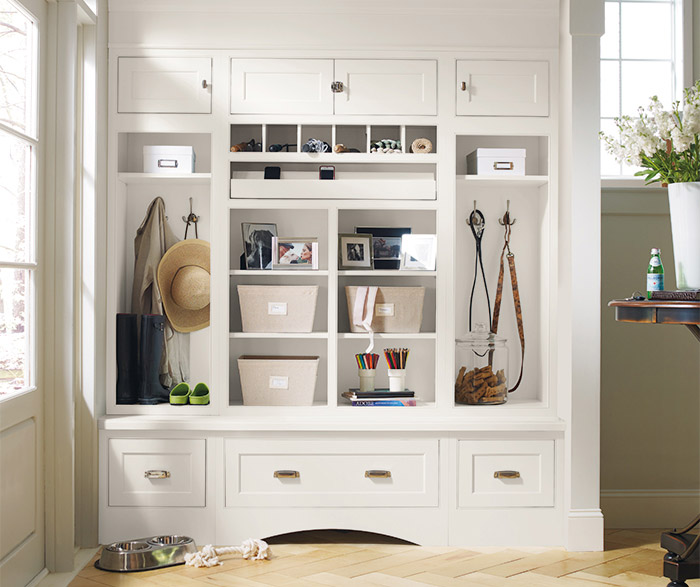 prescott maple white entryway cabinets