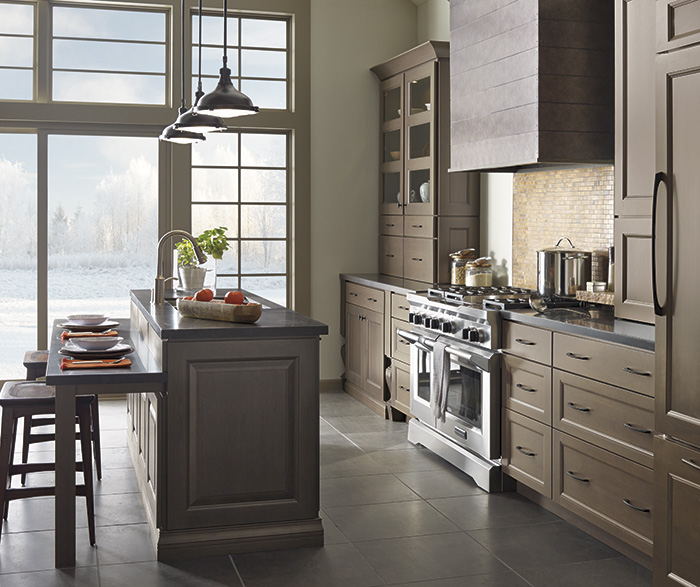 Gray Kitchen Cabinets With Island