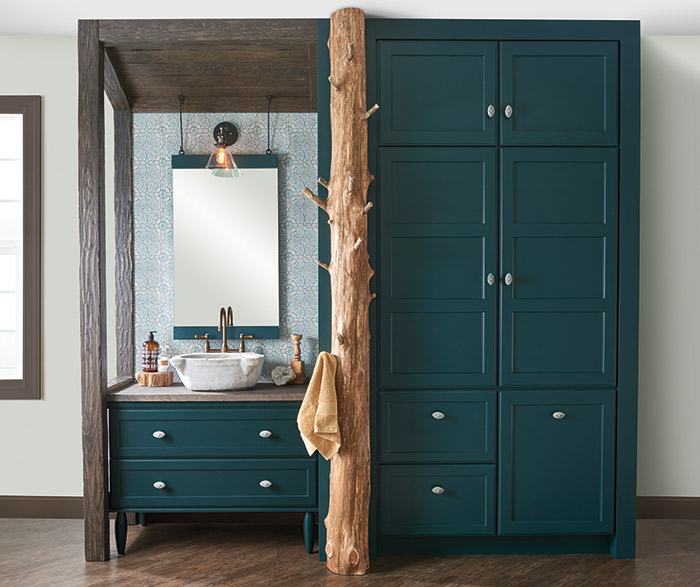 Beau Teal Green Bathroom Vanity And Storage Cabinets With A Tree Trunk Towel  Rack ...